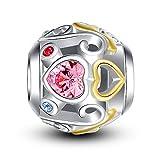 Glamulet angulaire Cœur Fleur Charm argent sterling 925Perles Pandora Charms Bracelet Pandora