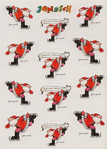 Janosch Sticker Postkarte Weihnachtsmann auf Schlittschuhen