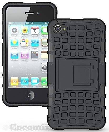 iPhone 4S/4Fall, cocomii Grenade Armor New [Heavy Duty] Premium Tactical Grip Ständer stoßfest Hardcase Schale Bumper [Military Defender] Full Body Dual Layer Rugged Cover, Schwarz