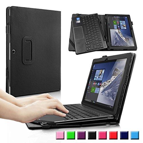 Infiland Lenovo Miix 310 Hülle Case, Slim dünne Schutzhülle Cover Tasche für Lenovo Miix 310 (10,1 Zoll)(mit Auto Schlaf/Wach Funktion, Tablet und Tastatur sind Nicht entgehaltet)(Schwarz)