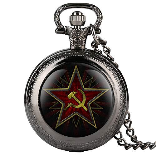 Pentagram Party Emblem UDSSR Sowjetische Abzeichen Hammer Sichel Schwarz Quarz Taschenuhr Russische Armee CCCP Kommunismus Uhr Unisex, Classic Black