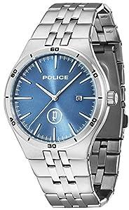 Police Reloj de Hombre Iron de Cuarzo con esfera azul, pantalla analógica y brazalete plateado de acero inoxidable 14440JS/03M de Police
