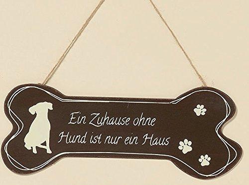Metall Schild Knochen Hund 30cm Eisen lackiert (Ein Zuhause ohne Hund)