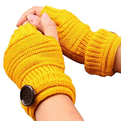Qinlee Halb Handschuhe Gestrickte Winter Wärmer Handschuhe mit Knopf Damen Fingerlose Armstulpen Einfarbig Fäustlinge Winter Zubehör für Mädchen (Gelb)