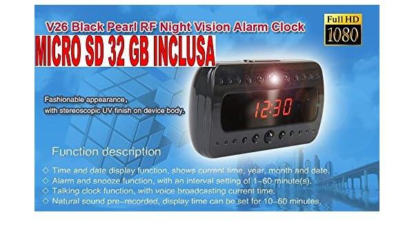 SVEGLIA OROLOGIO SPIA SPY CAMERA 1920x1080 FULL HD NIGHT VISION MOTION DETECTOR
