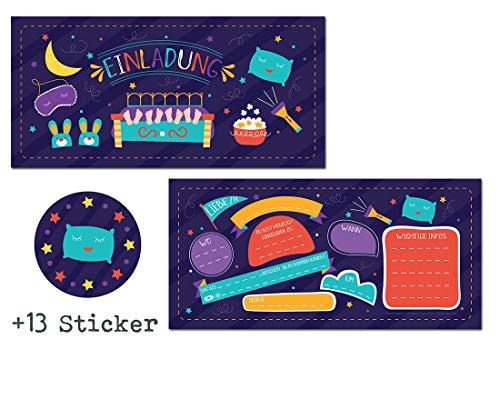 12 Einladungskarten Übernachtungsparty + 13 Sticker Gratis - Mädchen Jungs / Party Mitgebsel Karten Geburtstag Pyjamaparty Sleepover