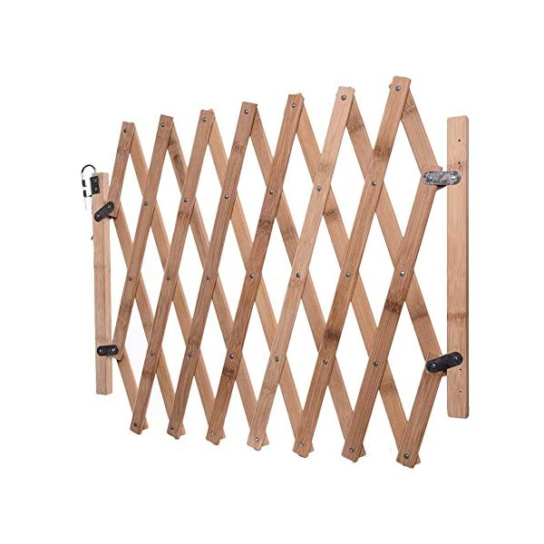 Pet Expanding Wooden Fence Gate,Retractable Dog Screen Sliding Door Gates Doorways Freestanding Portable Dog Cat Gate Safety for Home Patio Garden Lawn cheerfulus-123 Pet Wooden Door Fence: The wooden fence gate allows pets to stay away from dangerous areas while providing a safe fence for play and rest Retractable Dog Gate: The length is about 60-110cm,the distance that can be stretched when used,can be shrunk when not in use Easy Installation: The wood pet fence has two screws fixed on one side, and the other side is designed as a buckle for easy access 4