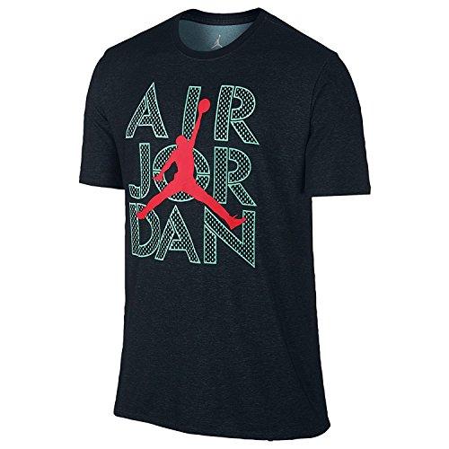 Jordan Herren AJ Stencil Dri-FIT T-Shirt X-Large Black Hyper Turquoise Infrared