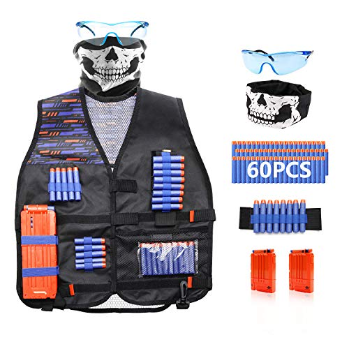 Tactical Vest Kit Compatible with Nerf Guns N-Strike Elite Series-with 60 Pcs Refill Darts, 1 Hand Wrist Band, 1 Tactical Mask, 1 Protective Glasses, 2 Quick Reload Clips Elite Lightweight Vest