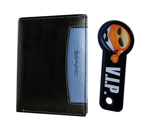 Premium Portemonnaie mit RFID-Blocker aus echtem Leder und Schlüsselschutz-Anhänger in schwarz (Herren Geldbörse im Hochformat schützt Kreditkarten vor dem Datenklau) Schwarz/Blau