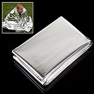 OriGlam 5 Pack Foil Survival Rescue Emergency Blanket, Survival Reflective Thermal First Aid Blanket, Waterproof Silver Hiking First Aid