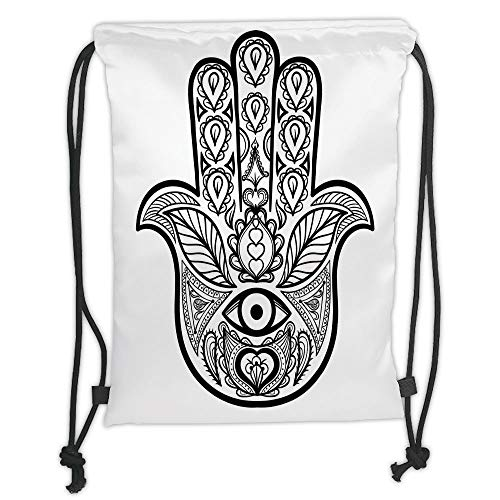 LULUZXOA Gym Bag Printed Drawstring Sack Backpacks Bags,Mandala,Hamsa Hand with Inner Eye Image Evil Eyes Bless You Oriental Eastern Art Print,White Black Soft Satin,T Plastic Inner Bucket