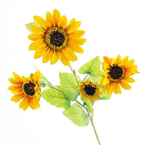 artplants Künstliche Sonnenblumen-Trio, gelb, 70 cm, Ø 12 cm – Kunstblume/Kunst Sonnenblumen