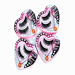 Shopeleven Soft Natural Black Thick Long False Eyelashes Makeup Extension (Pack Of 4) Pair Fake Eyelashes