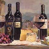 Eurographics Leinwandbild für die Küche, Villa Reds, Wein-Flaschen, Käse, Gemälde, bunt, 30 x 30 x 2,5 cm