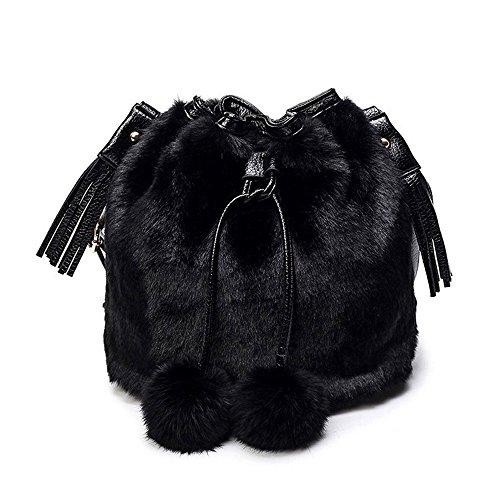 Schultertaschen,Tonsee Winter Plüsch Eimer Drawstring Bag Frauen Seil Tote Fell Schultertasche (Schwarz) (Purse Bag Fell Handtasche)