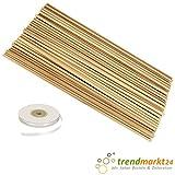 trendmarkt24 Buchen-Holz-Stäbe rund 50 Stück + 1 Satinband weiß 6mm x 25m ✓ Rund-Holz-Stäbe ca. 50 cm / 500mm lang ✓ ca. 8mm stark ✓ Bastelhölzer Holzstäbchen ✓ Blumenstecker 1805050