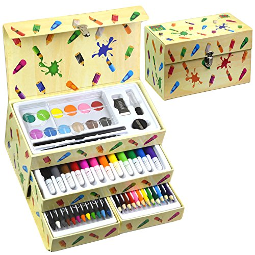 The Magic Toy Shop 54 Pieces Kids Art Artist Set in a Box with Drawers Pens Pencils Crayons Paints