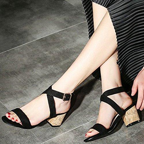 Oasap Women's Fashion Open Toe Cross Strap Slingback Chunky Heels Sandals Black
