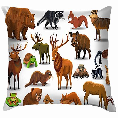 beautiful& Set Wild Forest Animals Isolated Wildlife Animal Funny Square Throw Pillow Cases Cushion Cover for Bedroom Living Room Decorative 18X18 Inch (Halloween Day Mole)