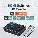 Commutateur HDMI Intelligent 5 Port 1 Out avec support télécommandé infrarouge 3D et 1080P pour HDTV PS3 PC Blu-ray DVD STB PC, etc. (boîtier en plastique Câble HDMI V1.4)