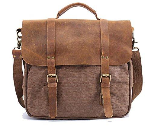 Vintage Aktentasche Herren casual Canvas Handtasche Crossbody Messenger bag coffee color