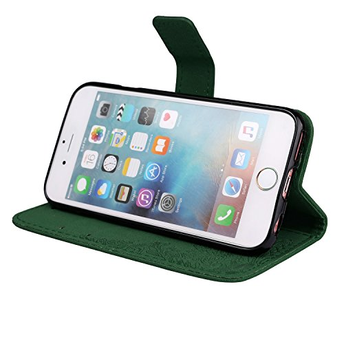 EKINHUI Case Cover Glitter Sparkles Flower Embossing Style PU Ledertasche Geldbörse Tasche mit weichem TPU Back Cover & Lanyard & Kickstand für iPhone 6 & 6s ( Color : Black ) Green