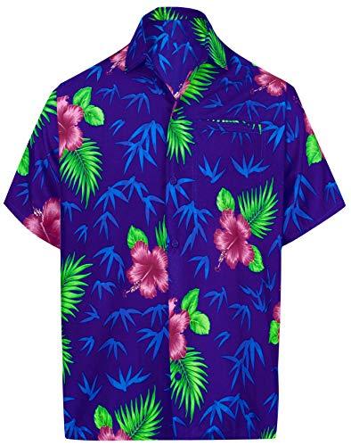 LA LEELA männer Hawaiihemd Kurzarm Button Down Kragen Fronttasche Beach Strand Hemd Manner Urlaub Casual Herren Aloha Königsblau_513 4XL Likre 1909 - Button-down-vintage-shorts