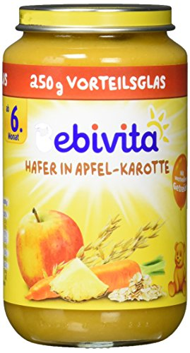 Bebivita Frucht und Getreide, Hafer in Apfel-Karotte, 6er Pack (6 x 250 g)