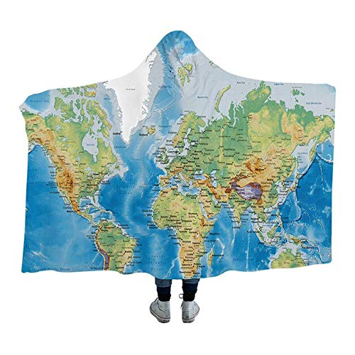 World Map Hooded Blanket Erwachsene Mikrofaser Sherpa Fleece Ocean Blue Wearable Decke auf dem Bettsofa 127x152cm - Ocean Fleece-stoff