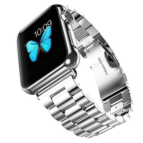 Evershop 38mm Apple Watch Uhrarmband für Apple Watch 1 2 3 Edelstahl Handgelenk Band mit Classic Schnalle für Apple iWatch alle Modelle(Silber,38mm) -