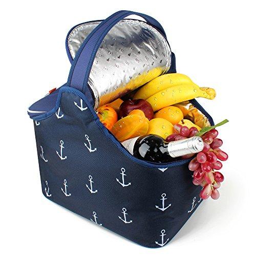 yonovo 20L faltbar Picknick Korb, groß Isolierte Tasche wasserdicht für Gathering Reisen Camping BBQ (blue-anchor Motiv)