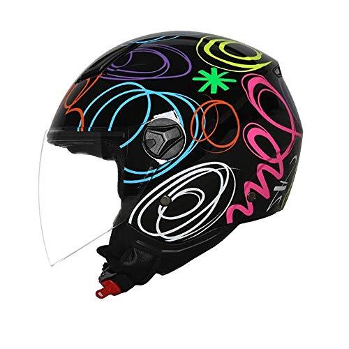 YAJAN-helmet Jet Vintage Helm Motorrad Integriertem Sonnenvisier Schnellverschluss für Herren Damen Pedallokomotive Cruiser Roller Chopper Pilot ECE/DOT-Zertifizierung -