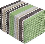 normani 10 x Hochwertige, saugstarke Halbleinen Geschirrtücher Gläsertücher waschbar bis 60° C Farbe Toffee Stripe/Grün
