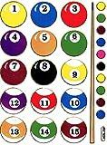 Billiard Kugeln Pool Snooker Aufkleber 1 Blatt 135 mm x 100 mm Sticker Basteln Kinder Party Metallic-Look