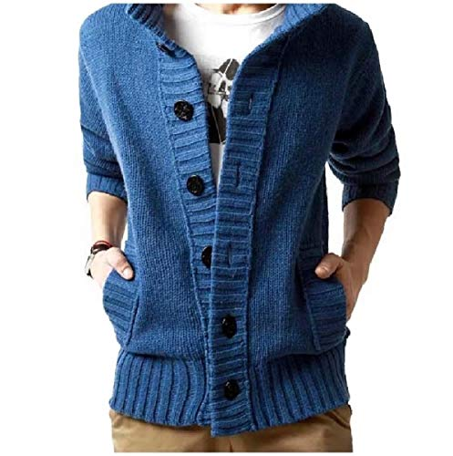 CuteRose Men's PEA Coat Stand Collar Slim Fit Single Breasted Cardigan Blue M Single Breasted Peacoat