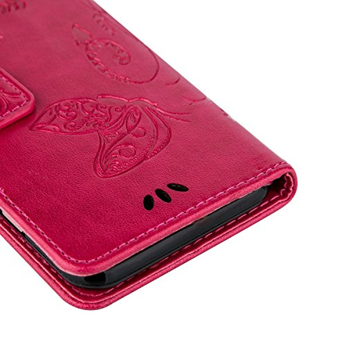 Papillon fleurs en relief PU cuir Flip Stand Wallet Case avec des cartes à main Strap Slots pour iPhone 6 6S Plus ( Color : Rose Red , Size : IPhone 6S Plus ) Red