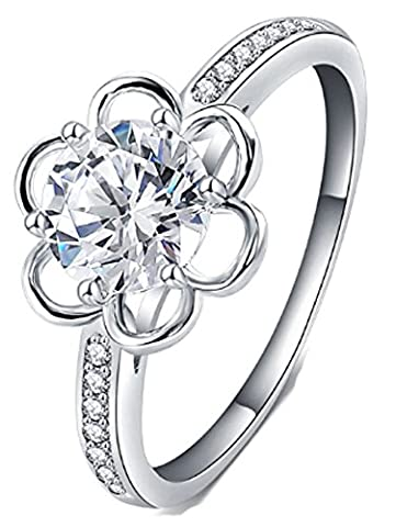 SaySure - Flower Shape Girls Rings Silver Plated Cubic Zirconia (SIZE : 8)
