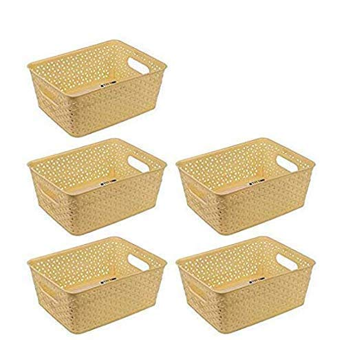 Xllent® (Size in cm-26 + 20+ 11)-Plastic Storage Basket Box Organizer Bins with Handle for Office Utensils, Bottle,Jars, Fruits, Vegetable. (5 Pieces)- Rectangular Shape- Ivory.