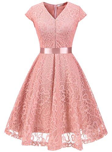 MuaDress 6004 Brautjungfernkleid aus Spitzen Kurz Damen Kleid Mit Knöpfe Cap Blush 3XL