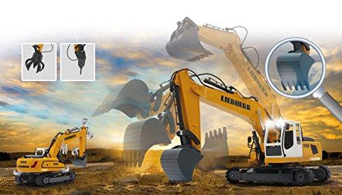 Jamara 405060 - Bagger Liebherr R936 1:20 2,4G - realistische Funktionen (entladen/ aufladen), jedes Gelenk einzeln steuerbar, 660 ° Turmdrehung, Metallschaufel, Motorsound, Hupe, Rückfahrwarnsound - 2
