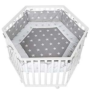 roba laufgitter laufstall 6 eckig sicheres spielgitter inkl schutzeinlage 39 little stars. Black Bedroom Furniture Sets. Home Design Ideas