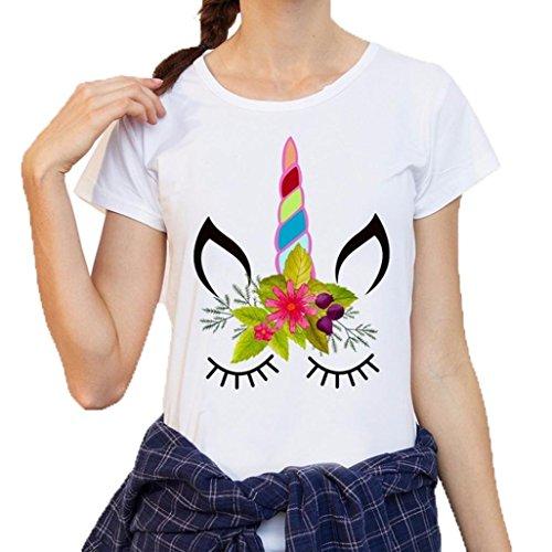 Chemise Femme,Manadlian Tuniques Femmes T-Shirt Chemisier Impression T-Shirts Chemise À Manches Courtes blanc 2