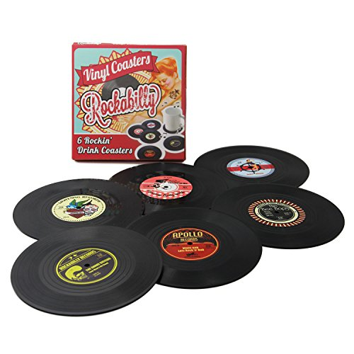 Set of 6 Colorful Retro Rockabilly Vinyl Record Disk Coasters