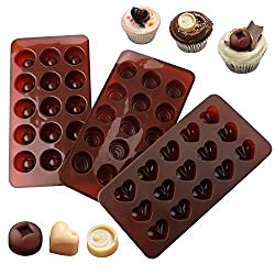Accmor Silicone Chocolate Molds & Candy Molds, 3 Pack Different Shapes Chocolate