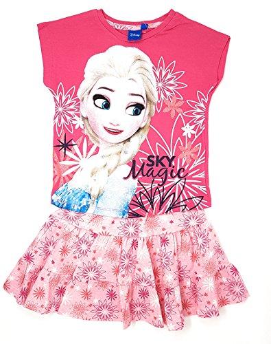 Frozen - Die Eiskönigin T-Shirt und Rock Set Kollektion 2018 98 110 116 128 Mädchen Kurzarmshirt Ann und ELSA Disney (Fuchsia-Rosa, Größe 128 (Herstellergröße 6-8 ()