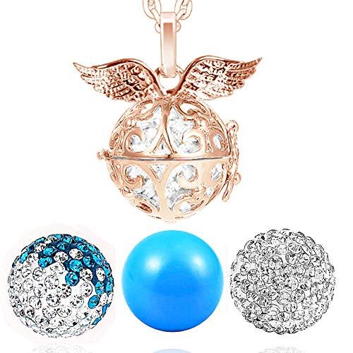 AKKi jewelry Damen Halskette 70 cm mit Ornament Anhänger und 3 Engelskugel Engel-Kette-rufer Klangkugel Ø 14 mm in Schmuckbeutel zur Farbauswahl Türkis