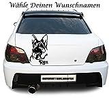 Autotattoo Autoaufkleber Schäferhund mit Wunschnamen Name Schwarz KLEIN