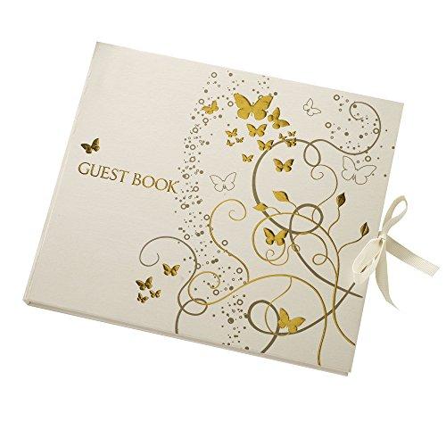 Hochzeits Gästebuch mit Schmetterling in creme & gold