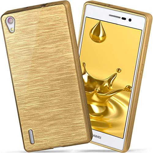 moex Huawei P7 | Hülle Silikon Gold Brushed Back-Cover TPU Schutzhülle Ultra-Slim Handyhülle für Huawei Ascend P7 Case Dünn Silikonhülle Rückseite Tasche
